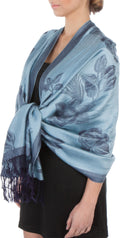 Sakkas Two Tone Rose Pashmina Scarf / Stole / Wrap#color_Blue / Navy
