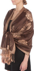 Sakkas Two Tone Rose Pashmina Scarf / Stole / Wrap#color_Brown / Beige