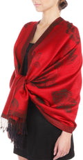 Sakkas Two Tone Rose Pashmina Scarf / Stole / Wrap#color_Cherry