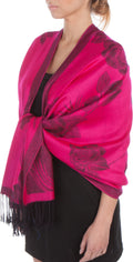Sakkas Two Tone Rose Pashmina Scarf / Stole / Wrap#color_Fuchsia / Black