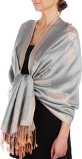 Sakkas Two Tone Rose Pashmina Scarf / Stole / Wrap#color_Grey / Beige