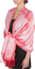 Sakkas Two Tone Rose Pashmina Scarf / Stole / Wrap#color_Pink / RED