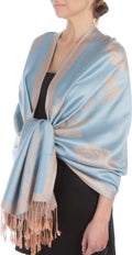 Sakkas Two Tone Rose Pashmina Scarf / Stole / Wrap#color_Powder Blue / Beige