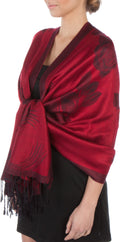 Sakkas Two Tone Rose Pashmina Scarf / Stole / Wrap#color_Red / Black