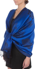 Sakkas Two Tone Rose Pashmina Scarf / Stole / Wrap#color_Royal Blue / Black