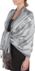 Sakkas Two Tone Rose Pashmina Scarf / Stole / Wrap#color_SilverGrey