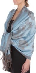 Sakkas Two Tone Rose Pashmina Scarf / Stole / Wrap#color_Steel Blue / Gray
