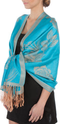 Sakkas Two Tone Rose Pashmina Scarf / Stole / Wrap#color_Turquoise / Beige