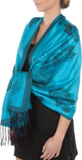 Sakkas Two Tone Rose Pashmina Scarf / Stole / Wrap#color_Turquoise / Black