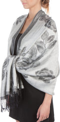 Sakkas Two Tone Rose Pashmina Scarf / Stole / Wrap#color_White / Black