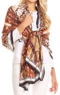 Sakkas Tuma Colorful Printed Lightweight Gauzy Scarf Shawl#color_17242-Brown-cheeta