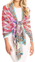 Sakkas Tuma Colorful Printed Lightweight Gauzy Scarf Shawl#color_17244-Red-ikat