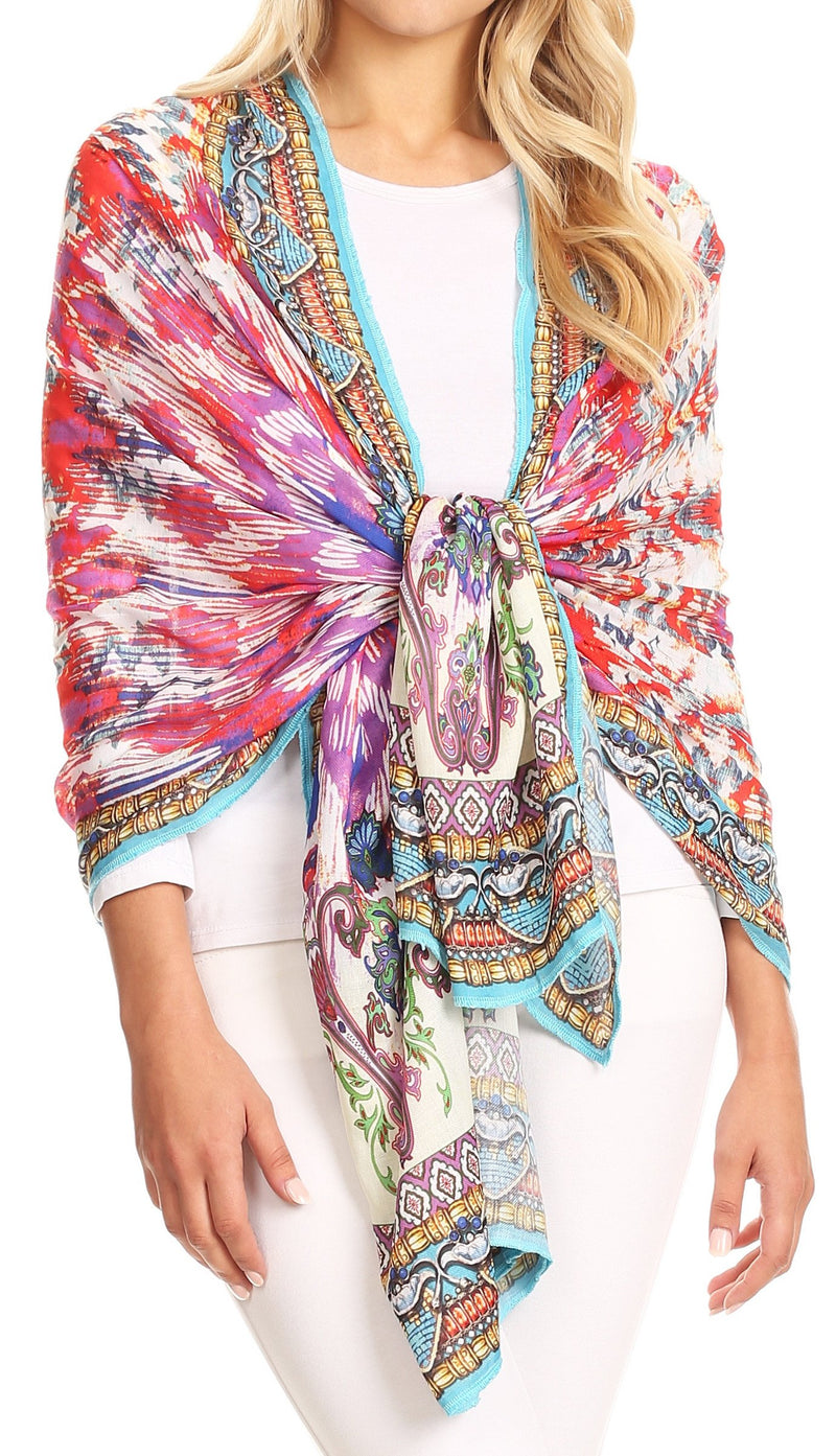 Sakkas Tuma Colorful Printed Lightweight Gauzy Scarf Shawl