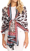 Sakkas Tuma Colorful Printed Lightweight Gauzy Scarf Shawl#color_17245-Black/white-zebra