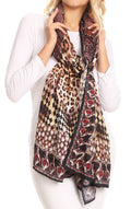 Sakkas Tuma Colorful Printed Lightweight Gauzy Scarf Shawl#color_17246-Brown-leopard