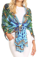 Sakkas Tuma Colorful Printed Lightweight Gauzy Scarf Shawl#color_17247-Turq-amazon