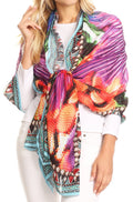 Sakkas Tuma Colorful Printed Lightweight Gauzy Scarf Shawl#color_17248-Multi-feather