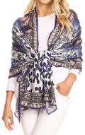 Sakkas Tuma Colorful Printed Lightweight Gauzy Scarf Shawl#color_17249-Blue/white-porcelain