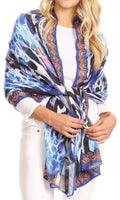 Sakkas Tuma Colorful Printed Lightweight Gauzy Scarf Shawl#color_17250-Blue/black-honeycomb