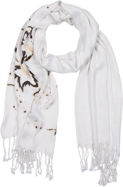 Sakkas Metallic Leaves Pashmina Scarf / Stole / Wrap / Shawl