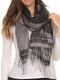 Sakkas Seily Long Extra Wide Fringe Paisley Patterned Pashmina Shawl / Scarf#color_Black / Grey