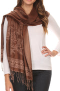 Sakkas Seily Long Extra Wide Fringe Paisley Patterned Pashmina Shawl / Scarf#color_Brown / Golden