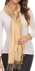 Sakkas Seily Long Extra Wide Fringe Paisley Patterned Pashmina Shawl / Scarf#color_Silver / Golden