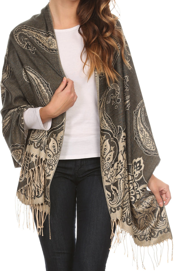 Sakkas Kendall Long Extra Wide Floral Paisley Patterned Pashmina Shawl / Scarf#color_Black / Beige