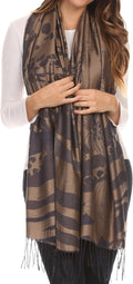 Sakkas Kendall Long Extra Wide Floral Paisley Patterned Pashmina Shawl / Scarf#color_Brown / Grey
