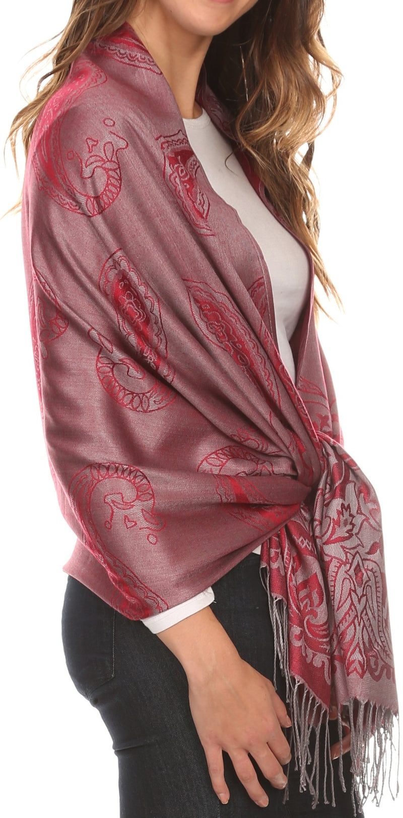 Sakkas Kendall Long Extra Wide Floral Paisley Patterned Pashmina Shawl / Scarf