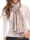 Sakkas Kendall Long Extra Wide Floral Paisley Patterned Pashmina Shawl / Scarf#color_Silver / Brown
