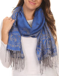 Sakkas Kendall Long Extra Wide Floral Paisley Patterned Pashmina Shawl / Scarf#color_Turq / Golden