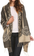Sakkas Maela Long Extra Wide Traditional Patterned Fringe Pashmina Shawl / Scarve