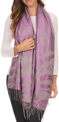 Sakkas Reiley Long Wide Floral Printed Patterened Fringe Pashmina Shawl / Scarf#color_Lavender / Grey