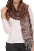 Sakkas Reiley Long Wide Floral Printed Patterened Fringe Pashmina Shawl / Scarf#color_Navy / Brown