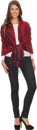 Sakkas Reiley Long Wide Floral Printed Patterened Fringe Pashmina Shawl / Scarf