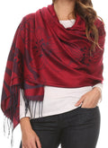 Sakkas Reiley Long Wide Floral Printed Patterened Fringe Pashmina Shawl / Scarf#color_Red / Black