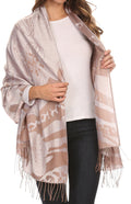 Sakkas Reiley Long Wide Floral Printed Patterened Fringe Pashmina Shawl / Scarf#color_Silver / Brown