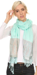 Sakkas Bela Long Wide Multi Patterned Tassel Fringe Pashmina Shawl / Wrap / Stole#color_Aqua