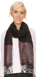 Sakkas Bela Long Wide Multi Patterned Tassel Fringe Pashmina Shawl / Wrap / Stole#color_Black