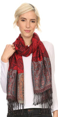 Sakkas Bela Long Wide Multi Patterned Tassel Fringe Pashmina Shawl / Wrap / Stole#color_Black / Red