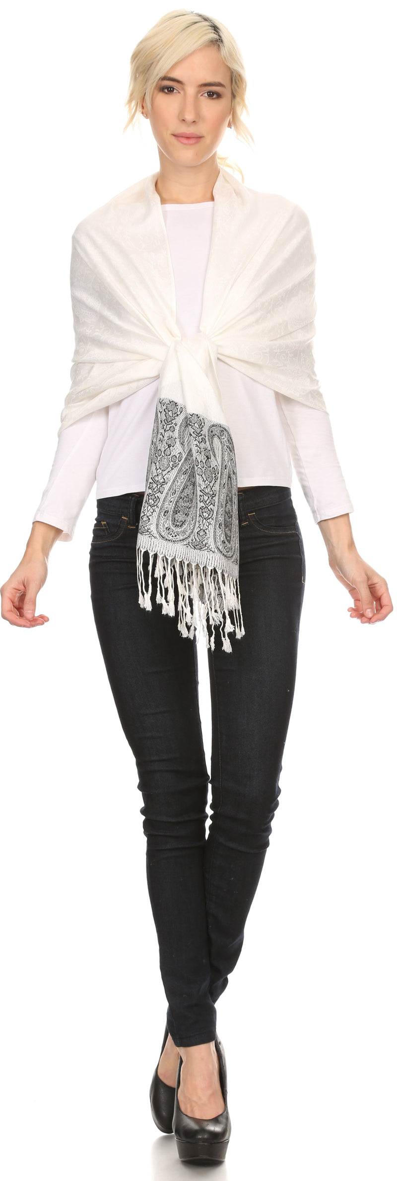 Sakkas Bela Long Wide Multi Patterned Tassel Fringe Pashmina Shawl / Wrap / Stole