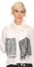 Sakkas Bela Long Wide Multi Patterned Tassel Fringe Pashmina Shawl / Wrap / Stole#color_Ivory / Black