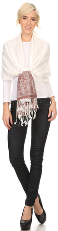 Sakkas Bela Long Wide Multi Patterned Tassel Fringe Pashmina Shawl / Wrap / Stole#color_Ivory / Brown