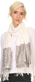 Sakkas Bela Long Wide Multi Patterned Tassel Fringe Pashmina Shawl / Wrap / Stole#color_Ivory / Grey