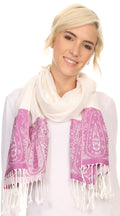 Sakkas Bela Long Wide Multi Patterned Tassel Fringe Pashmina Shawl / Wrap / Stole#color_Ivory / Pink