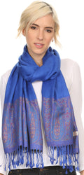 Sakkas Bela Long Wide Multi Patterned Tassel Fringe Pashmina Shawl / Wrap / Stole#color_Royal Blue / Pink