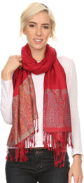 Sakkas Bela Long Wide Multi Patterned Tassel Fringe Pashmina Shawl / Wrap / Stole#color_Red