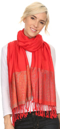 Sakkas Bela Long Wide Multi Patterned Tassel Fringe Pashmina Shawl / Wrap / Stole#color_Red / Grey