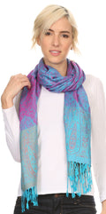 Sakkas Bela Long Wide Multi Patterned Tassel Fringe Pashmina Shawl / Wrap / Stole#color_Turq / Pink